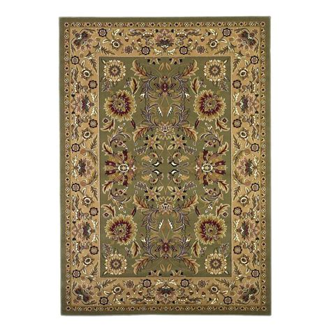 Kas Rugs Classic Kashan Green Taupe 9 Ft 10 In X 13 Ft Area Rugs Home Depot