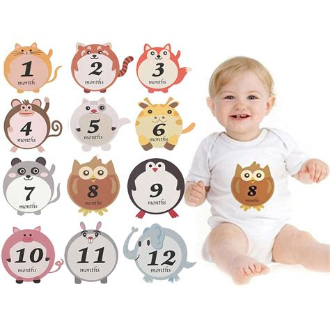 Set Baby 12pcs 12pcs set baby sticker for take pictures in different months baby climbing clothes