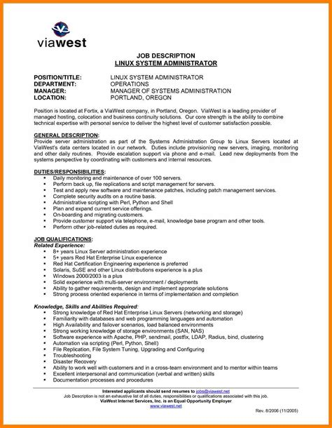 sle resume format for system administrator linux administrator description printable resume
