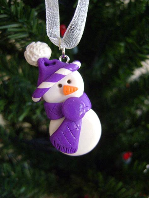 items similar to polymer clay snowman ornament with purple
