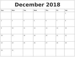 Calendar 2018 To Print December 2018 Free Calendars To Print