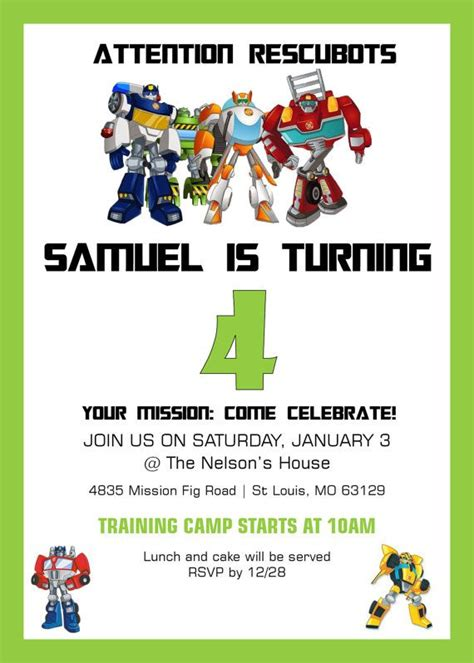 printable rescue bots birthday invitations rescue bots birthday invitation rescue bots birthday