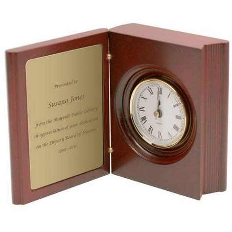 clocks a novel books personalized rosewood book clock with brass plate