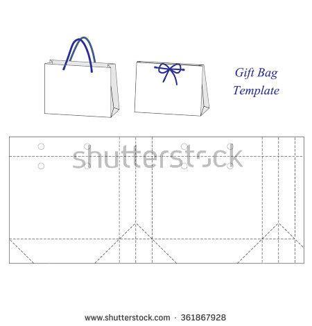 gift bag net template shopping bag template blank stock vector 361867928