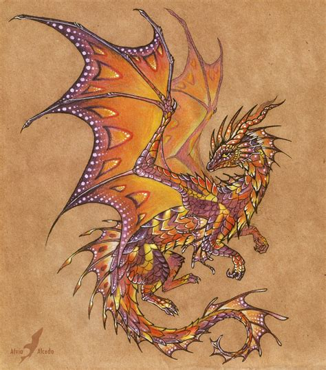 dragon wing tattoo tropical sunset design by alviaalcedo on