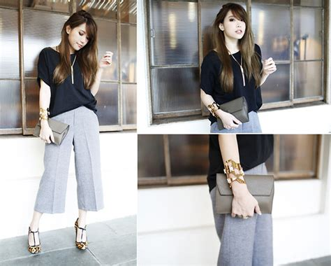 Basic Culottes Grey millyq chung basic culottes in gray gucci heels in