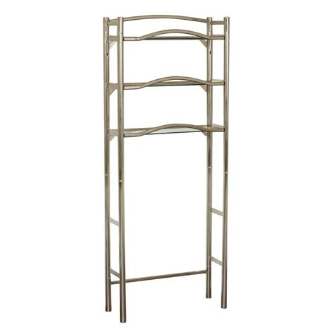 brushed nickel bathroom shelving unit zenith kemp court 25 in w x 63 in h x 9 12 in d metal