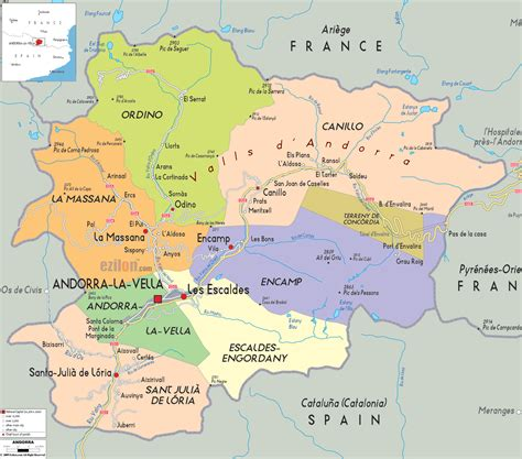 political map of maps of andorra detailed map of andorra in
