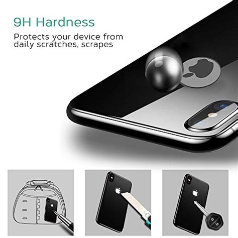 bovon iphone x back protector cover replacement 3d coverage 9h hardness