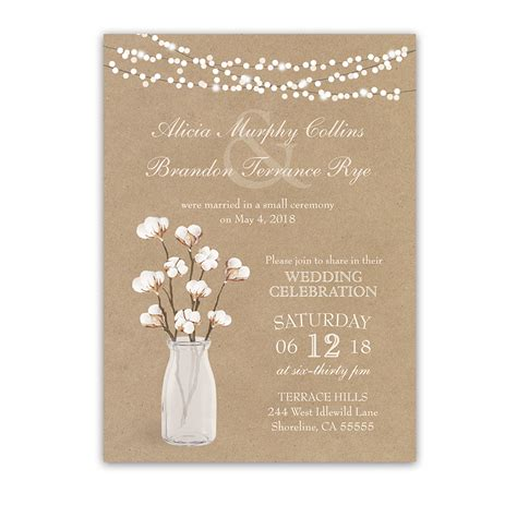 invitation wedding reception only rustic cotton theme wedding reception only invitation