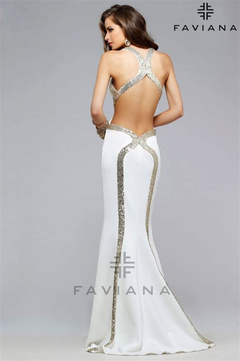 white and gold open back prom dress 2016 2017 b2b fashion faviana v neck neoprene with sequin and cutouts white open back prom dress at s