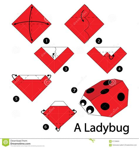 step by step how to make origami a ladybug