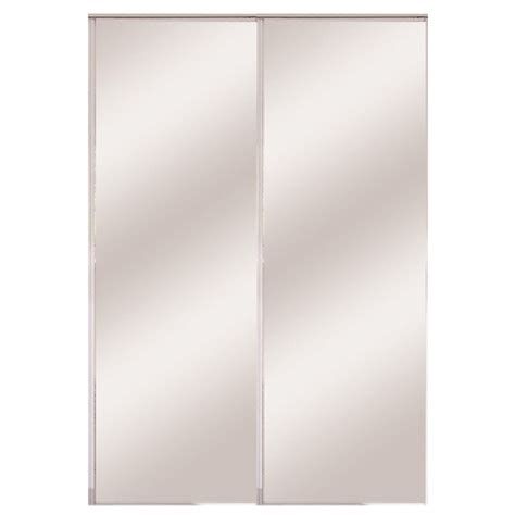Bifold Mirrored Closet Doors Lowes Shop Stanley 24 Quot White Interior Mirror Bifold Door At Lowes