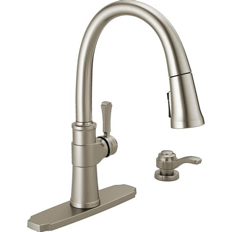 delta kitchen faucets reviews delta spargo single handle pull sprayer kitchen faucet with soap dispenser in spotshield