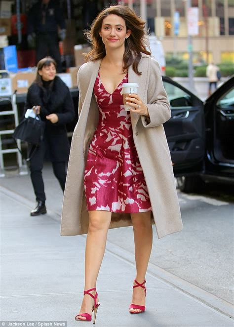 emmy rossum tv emmy rossum steps out in floral frock and chic coat for tv