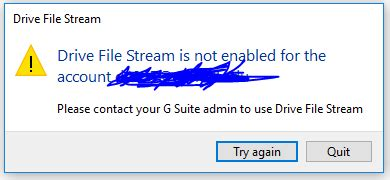 Drive File Stream Is Not Enabled For The Account | google drive file stream today is the day datahoarder