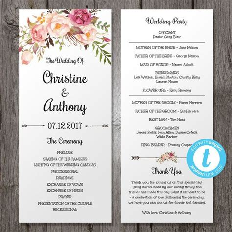 program card wedding template floral bohemian wedding program template instant by