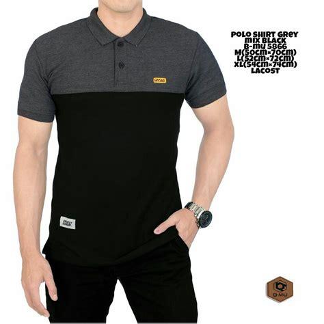 Kaos Pria Black Simple kemeja panjang polos black simple kerah sanghai baju cowok