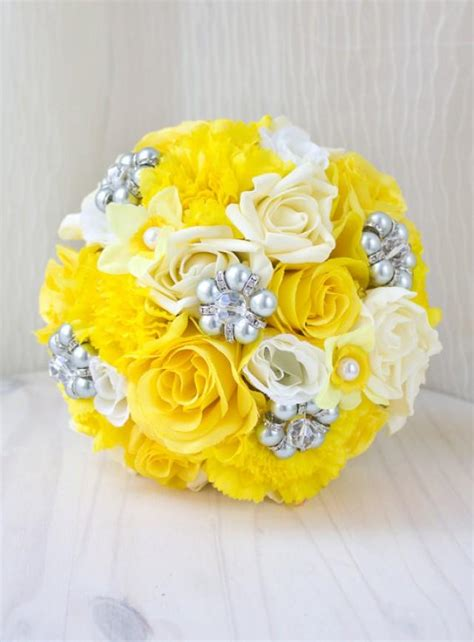Wedding Bouquet Yellow by Yellow And Grey Bouquet Bridal Brooch Bouquet Jewelry
