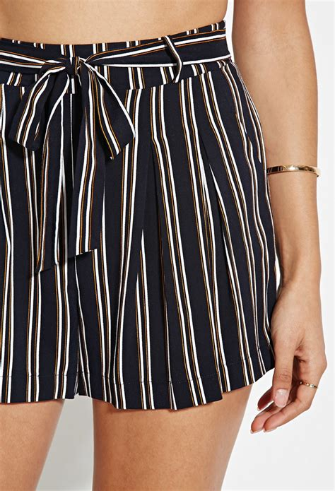 Striped Shorts forever 21 vertical stripe shorts in blue lyst
