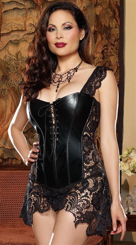 Zoey Bigsize plus size faux leather and venice lace corset corset