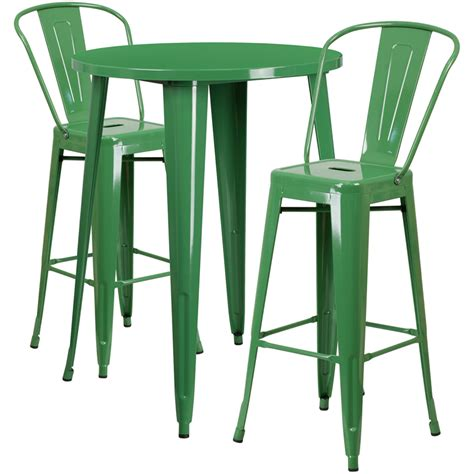 Dining Room Chair Protective Covers by 30 Round Green Metal Indoor Outdoor Bar Table Set With 2