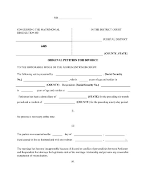 divorce template printable petition of divorce pleading template