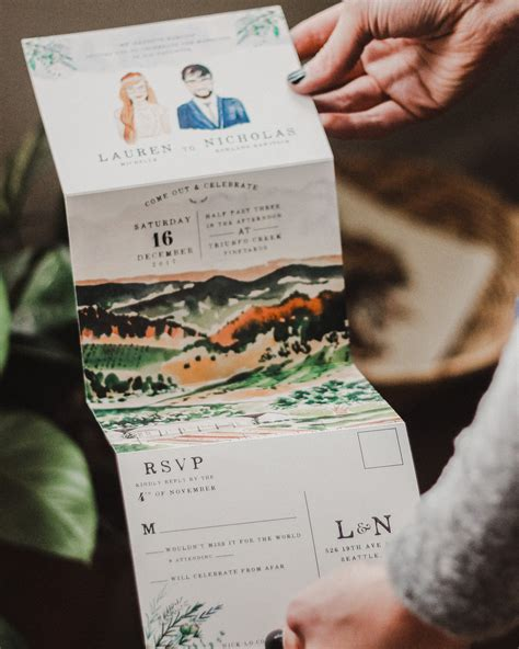 Unique Fold Out Wedding Invitations by Illustrated Fold Out Watercolor Wedding Invitations