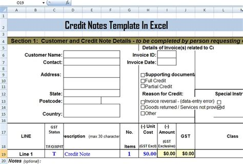 Credit Note Template Malaysia Ms Excel Credit Memo Invoice Template Financial Planning Software