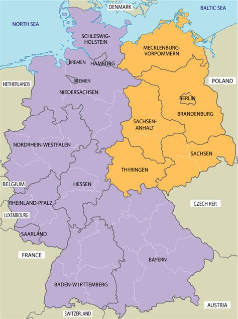 map of east germany large map of east and west germany
