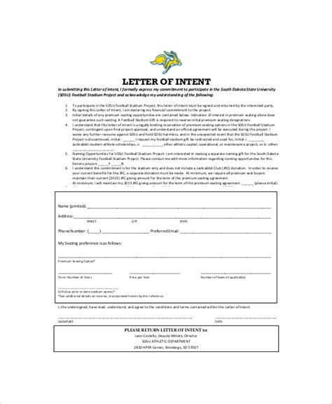 Finance Letter Of Intent 23 letter of intent template free sle exle