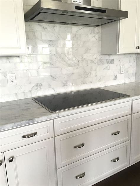 Kitchen Tiles Ideas Carrera Marble Subway Tile Backsplash With White Cabinets