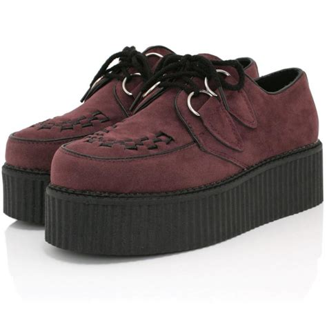 Platform Shoes by Buy Matilda Flat Creeper Platform Shoes Bordo Suede Style