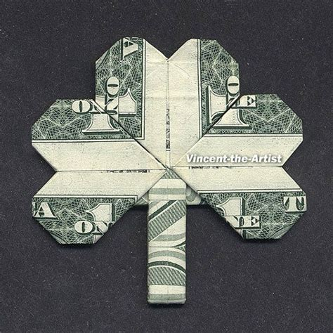 Origami One Dollar Bill - shamrock leaf money origami dollar bill clover plant
