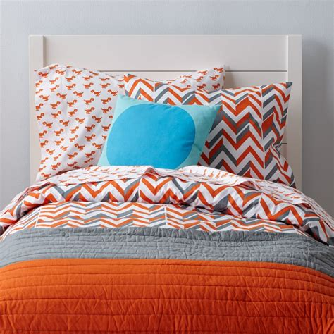 teal and orange bedding little prints kids duvet cover orange zig zag the land