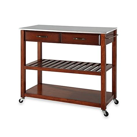 stainless steel top kitchen island server with shelf buy crosley stainless steel top rolling kitchen cart