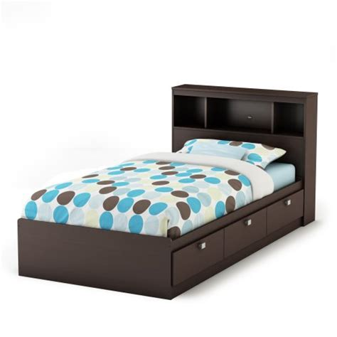 South Shore Cakao Twin Storage Bed And Bookcase Headboard