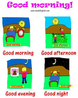 imagenes en ingles good bye good morning good afternoon good evening good night