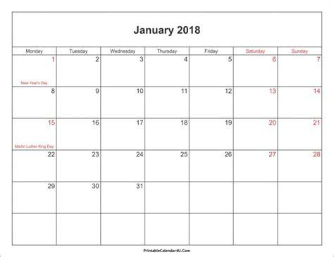 printable january 2018 calendar cute january 2018 calendar cute 2017 calendar printables