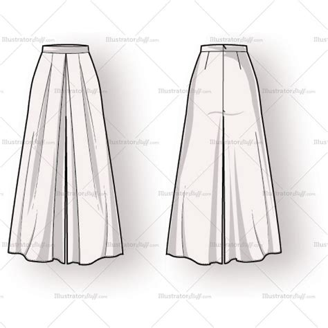 Women's Long Pleated Skirt Fashion Flat Template ... Fashion Illustration Templates Men