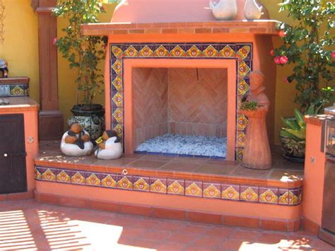 Mexican Outdoor Chimney Outdoors Fireplace Decorated Using Mexican Tile Mexican