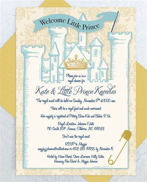 royal baby shower invitation instant castle