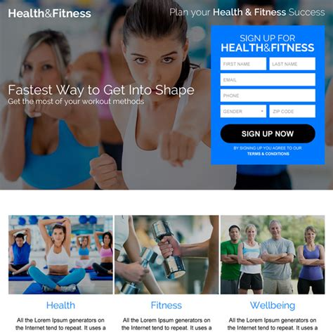 Landing Page Design Templates For Lead Gen Business Marketing Conversion Fitness Landing Page Templates