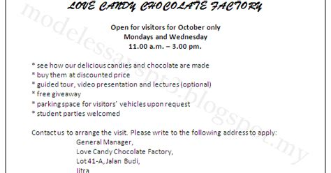 Formal Letter Visit To Chocolate Factory Model Essays Pt3 Spm