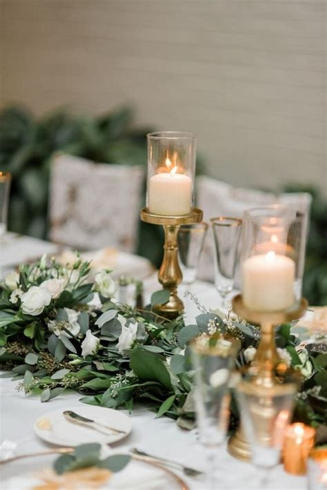 top  white  greenery wedding centerpieces