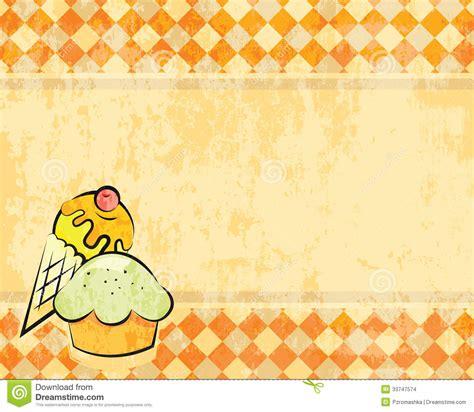 Vector Grunge Checkered Background With Dessert Stock