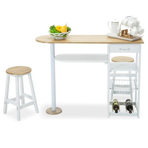 Kitchen Island Storage Table Oak White Kitchen Island Cart Trolley Dining Table Storage 2 Bar Stools Drawer Ebay