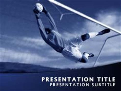 Royalty Free Soccer Goalkeeper Powerpoint Template In Blue