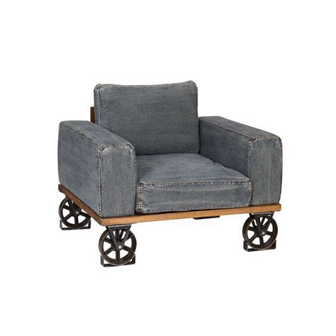 industrial armchair on caster wheels blue denim material