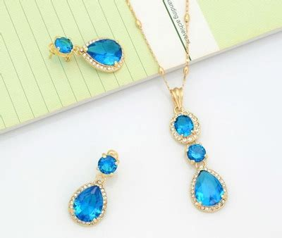 Anting Mutiara Set Hijau er109 1 set kalung anting zircon emas fantasi